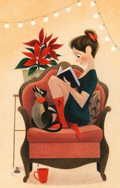Trendy Ideas For Cats Illustration Drawing Gatos Art And Illustration, Girl Illustrations, Reading Art, Reading Books, Girl Reading Book, Woman Reading, Cat Drawing, Drawing Ideas, Drawing Faces
