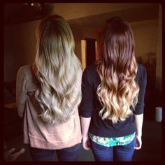 Pretty hair, blonde and red ombre - really like the red one && think I might try it myself