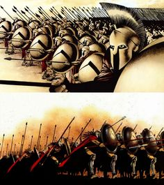 300 spartans, the spartans, war shields, spears, helmets, drawing