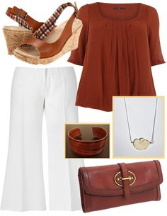 Bubble Hem Top in Rust at evansusa.com. Wide Leg Linen Pants in White at simplybe.com. Crocs A-Leigh Leather Wedge in Cocoa and Fossil Vintage Reissue Leather Clutch in Russet Brown both at zappos.com. The Sandhills White Stone Necklace by  theluckycowgirl at etsy.com. Bubinga Wood Cuff by danrydzik at etsy.com.