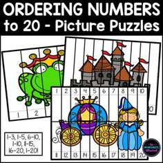 Hands On Learning, Learning Activities, Ordering Numbers, Number Sequence, Picture Puzzles, Cut And Paste, Kindergarten Teachers, Math Centers, Counting