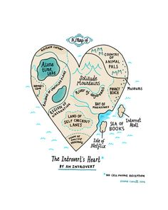 A Map of the Introvert's Heart Framed Art Print by gemma correll   Society6