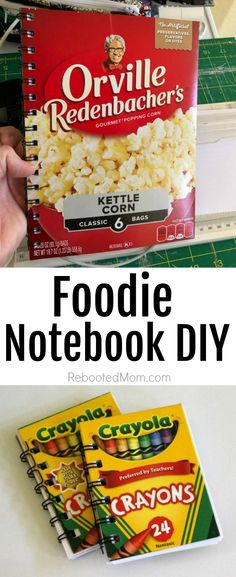 Follow this Foodie Notebook DIY to transform unique cereal and snack food boxes into a gift you can give to family and friends.  #food #foodie #notebook #DIY #upcycle #gift #unique #handmade Kettle Corn, Snack Recipes, Snacks, Diy Notebook, Recipe Box, Preserves, Upcycle, Craft Projects, Create