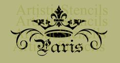 STENCIL Crown Paris Scroll 6.5x12 by ArtisticStencils on Etsy, $14.00