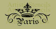 STENCIL Crown Paris Scroll 6.5x12 by ArtisticStencils on Etsy, $14.00