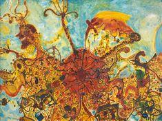 John Olsen, 'Where the bee sucks, there suck I' Australian Painters, Australian Artists, Libra And Cancer, Olsen, Artist At Work, Abstract Paintings, Mixed Media, Museum, Interior