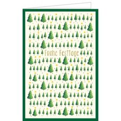 Grüne Tannenbäume wünschen Frohe Festtage - Doppeltext – Hanra Grußkarten-Shop