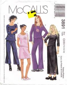 McCalls 3891 Girls' Tops, Pants & Skirts Sewing Pattern 7-12 Uncut