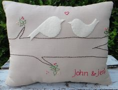 Personalized Love Birds Primitive Pillow. Large