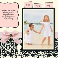 Twins For A Day scrapbook layout made with My Digital Studio software from Stampin' Up!