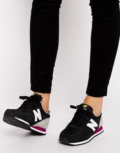 New Balance | New Balance 420 Suede Mix Black & Yellow Trainers at ASOS