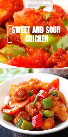 Sweet and Sour Chicken - Delicious and crispy chicken in the most amazing homemade Chinese sweet and sour sauce. So easy Homemade Chinese Food, Easy Chinese Recipes, Asian Recipes, Mexican Food Recipes, Chinese Prawn Recipes, Cooking Chinese Food, Chinese Desserts, Sweet And Sour Prawns, Sweet Sour Chicken