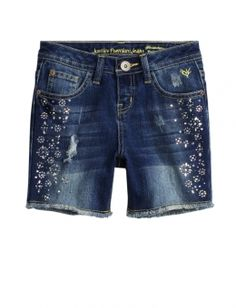 FLORAL EMBELLISHED MID-THIGH DENIM SHORTS | GIRLS SHORTS CLOTHES | SHOP JUSTICE