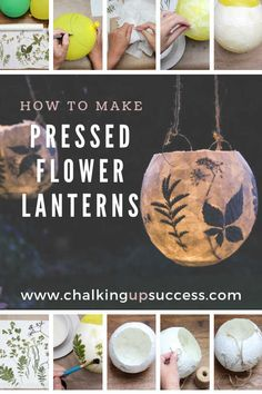 How to make beautiful pressed flower lanterns - Easy DIY, lanterns . - How to make beautiful pressed flower lanterns – Easy DIY, lanterns - Kids Crafts, Easy Crafts To Make, Diy And Crafts, Paper Mache Crafts For Kids, Budget Crafts, Diy Crafts Garden, Diy Things To Make, How To Paper Mache, Diy Crafts Lights