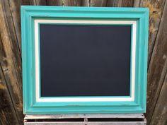 Framed Shabby Chic Teal MAGNETIC CHALKBOARD - 27x23 - Reclaimed Upcycled - Farmhouse Chic Home Decor - Boho Beach on Etsy, $80.00