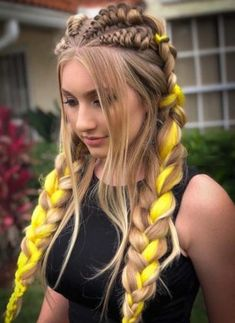 Awesome And Unique Hairstyles Ideas 2019 Pretty Hairstyles, Girl Hairstyles, Hairstyles 2018, Unique Hairstyles, Pigtail Hairstyles, Wedding Hairstyles, Rave Hair, Fishtail Braid Hairstyles, Festival Hair