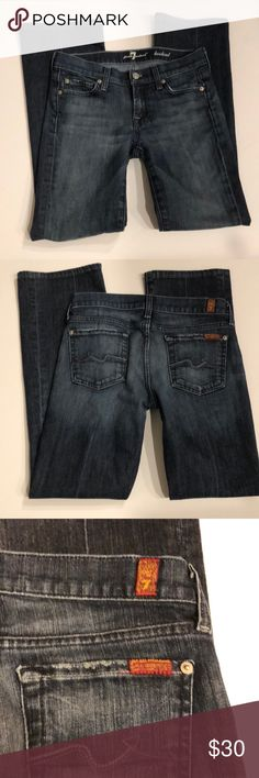 "7 For All Mankind Bootcut SZ 26 Inseam 28"". 7 For All Mankind Bootcut SZ 26 Inseam 28"". Minor Crease lines on front lower legs and full back leg as pictured Fits like Size 2. 7 For All Mankind Jeans Boot Cut"