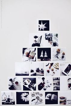 Clever holiday idea: Make a Christmas tree out of square photographs on a wall. Could use festive photos or just personal ones.
