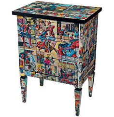 Decorate an old dresser or table with Comic Book pages. All you'll need is the furniture, comic books, Mod Podge to decoupage the bejeezus out of it and scissors. Apply the pages and coat the whole thing with varnish. Book Furniture, Repurposed Furniture, Furniture Projects, Furniture Makeover, Painted Furniture, Furniture Design, Furniture Movers, Furniture Online, Cheap Furniture