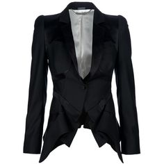 ALEXANDER MCQUEEN peplum front jacket ❤ liked on Polyvore