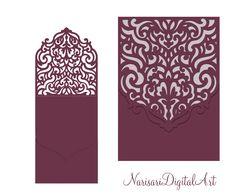 Wedding Invitation Pocket Envelope & Half-fold Card. SVG Template, Quinceanera, Christening, laser cutting file, Silhouette Cameo, Cricut by NarisariDigitalArt on Etsy