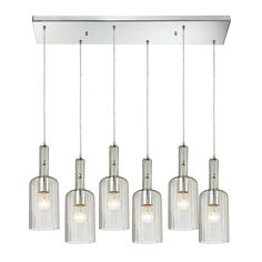 Menlow Park 6 Light Pendant In Polished Chrome by ELK