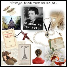 """""""Things that remind me of n.2 - Simone de Beauvoir"""" by ladylindy on Polyvore"""