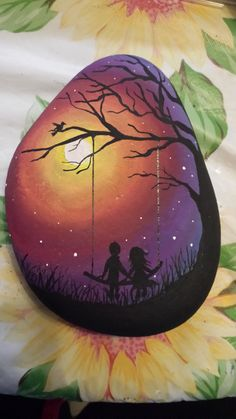 Hand painted boy and girl silhouette night scene - hand painted by Jessica Burcell