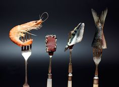A selection of seafood, artistically aranged on old forks. Image by Keith Moss.