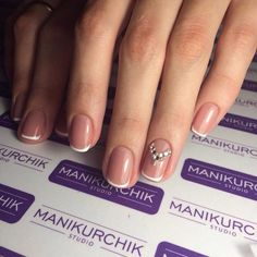 Beautiful French nails, Beige nails with rhinestones, Classic french manicure…