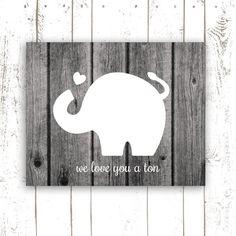 Elephant Art Print, Nursery Art Print Quote, We Love You a Ton, Black and White Wood Photo Print, Elephant Nursery