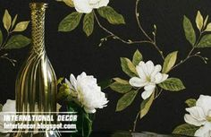 Stylish black wallpaper designs and wall coverings