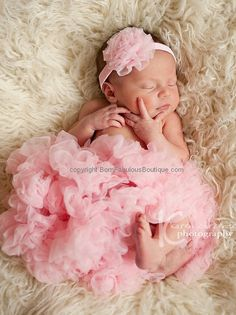 Newborn Pettiskirt Tutu & Headband Outfit by BornFabulousBirthday, $31.00