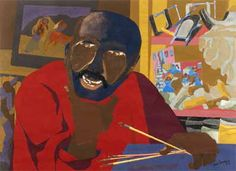 """Jacob Lawrence. Self-Portrait 1977.   Jacob Lawrence(September 7, 1917 – June 9, 2000) was anAmericanpainterknown for his portrayal of African-American life. Lawrence referred to his style as """"dynamiccubism,"""" though by his own account the primary influence was not so much French art as the shapes and colors ofHarlem."""