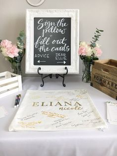 Baby Shower Sign in table - Guestbook Pillow Cover and Chalkboard Decor by Ellie+Rae