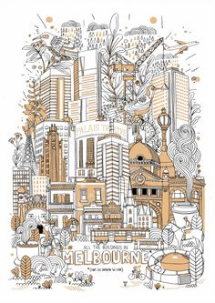 All the buildings in Melbourne|James Gulliver Hancock|||#illustration #colour