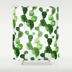 Cacti Shower Curtain - Watercolor Cactus Pattern - Boho Bathroom Decor - Golden dots - white or peach color - Green Plants Decor
