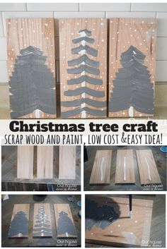 This is the best Christmas tree craft! Set in the kitchen it adds just enough holiday cheer to make the home feel festive without taking away that much needed counter space. Using scrap wood and paints, this is a fun craft for kids to do too!