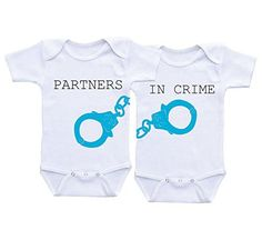 Dazzle-Partners-In-Crime-Blue-Funny-Twin-Baby-Onesie-Bodysuit-0