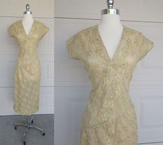 Gold Lace Wrap Dress, Home Tailored Beautiful Criss Cross Cocktail Dress Sz L