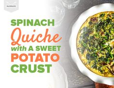 Spinach Quiche with a Sweet Potato Crust Healthy Recipes, Cooking Recipes, Crockpot Recipes, Paleo Meals, Healthy Breakfasts, Delicious Recipes, Spinach Quiche, Frittata, Pie Crusts