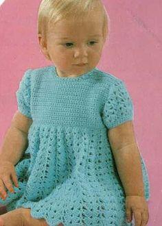 Free Crochet Baby Christmas Dress | Baby Girls Crochet Dress 1970s Pattern PDF No.0394 From TimelessOne ...