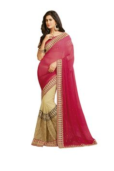 Buy Light Pink And Cream Fashion #Saree @ Rs.4,297.80  And Save 1,074.00 [Original Price: Rs.5,372.25] #FreeShipping
