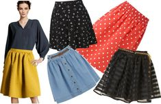 Pear. If you're heavy hipped then longer length skirts that won't cut your legs in the middle are always a good option. Maxi skirts look great on you and help balance your frame, but you don't have to go for a full length skirt every time. 1. Mustard skirt, H&M   2. Crucifix skirt, New Look   3. Polka dot skirt, Zara   4. Stripey skirt, New Look   5. Denim skirt, Pepe Jeans