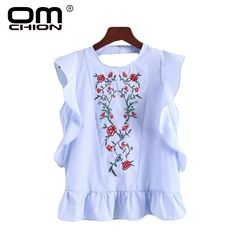 >> Click to Buy << OMCHION Top Femme 2017 New Sleeveless Blouse Casual Floral Embroidery Backless Hollow Out Blusa Summer Ruffles Women Shirt TS132 #Affiliate