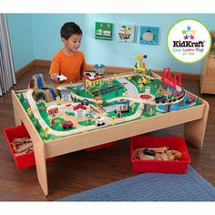 Learning While Playing Is Fun With KidKraftu0027s New Wooden Train Table With  Three Bins And 120 Piece Mountain Train Set. KidKraftu0027s Train Table Is  Kid Sized ...