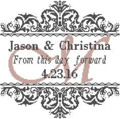 Modern Wedding Cross Stitch Pattern From this Day Forward with Damask Style Frame and Names/Initial Date by oneofakindbabydesign on Etsy Wedding Cross Stitch Patterns, Counted Cross Stitch Patterns, Cross Stitch Designs, Cross Stitch Embroidery, Embroidery Patterns, Cross Stitch Tree, Cross Stitch Samplers, Modern Cross Stitch, Cross Stitching