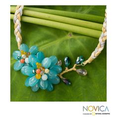 Novica Aquamarine and Quartz 'Blossoming ' Flower Necklace