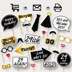 30th Birthday Party Printable Photo Booth Props - Glasses, Hats, Ties, Lips…
