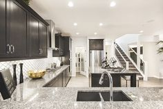 Beautiful Kitchen ~ The Quartz/Granite is Very Pretty! Dark Kitchen Cabinets, Beautiful Kitchens, Granite, Quartz, Pretty, House, Inspiration, Ideas, Home Decor